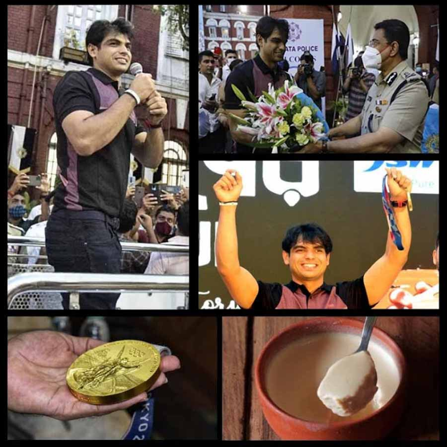 SWEET SPOT: Tokyo Olympics gold-winner Neeraj Chopra's visit to Kolkata included being felicitated by the police on Wednesday, September 15. What really hit the spot for the 23-year-old javelin thrower was the Baked Rosogolla in the shape of a gold medal and the Mishti Doi at Raajkutir
