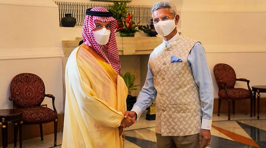 External Affairs Minister Dr. S. Jaishankar during a meeting with Foreign Minister of Saudi Arabia HH Prince Faisal bin Farhan Al Saud in New Delhi. Discussed our cooperation in the political, security and socio-cultural pillars of our strategic partnership. Exchanged views on Afghanistan, the Gulf and the Indo-Pacific.