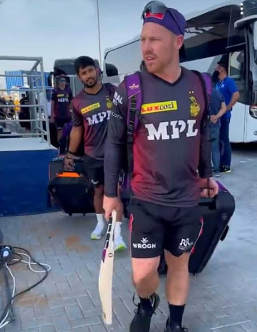 The Knights at their first practice session at Abu Dhabi Cricket Stadium. The home team will reboot their IPL campaign with a match against the Royal Challengers Bangalore on Monday.