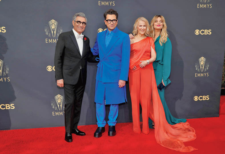 (L-R) Eugene Levy, Daniel Levy, Catherine O'Hara and Annie Murphy