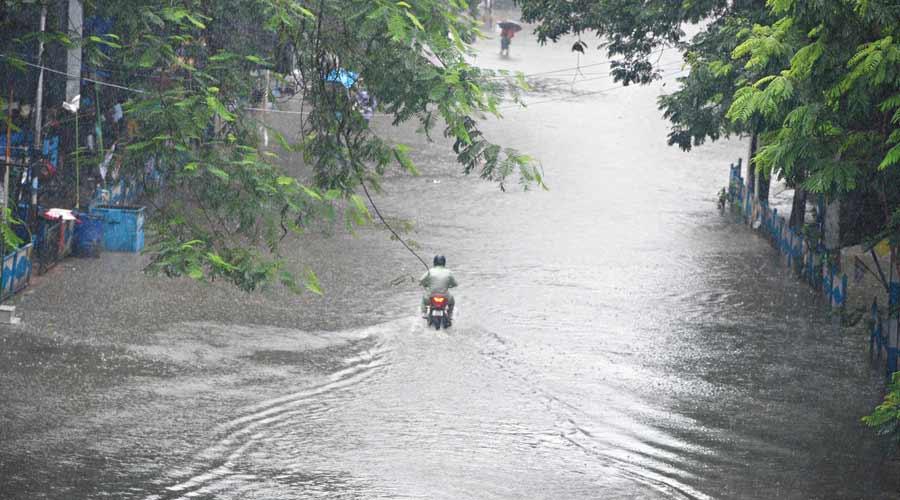 Camac Street under water on Sunday morning.