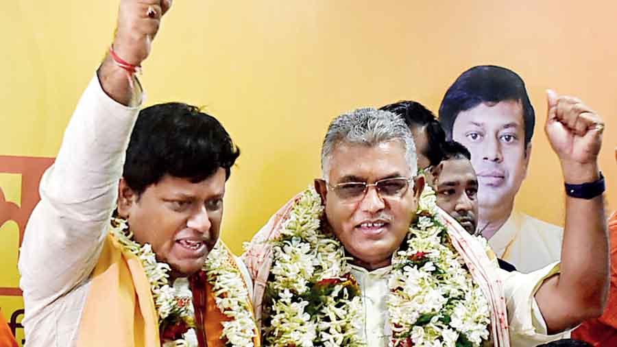 Sukanta Majumdar and Dilip Ghosh in Calcutta on Tuesday.