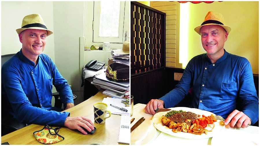 At work & at play: Fabrice Plançon at his desk at Alliance Française du Bengale and (right) ready to dig into Beef Steak at Mocambo.