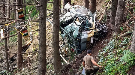 Wreckage of an Indian Army helicopter after it crash-landed during a training sortie in a dense forest near Patnitop in Jammu and Kashmir's Udhampur district on Tuesday. Two pilots were killed in the incident .