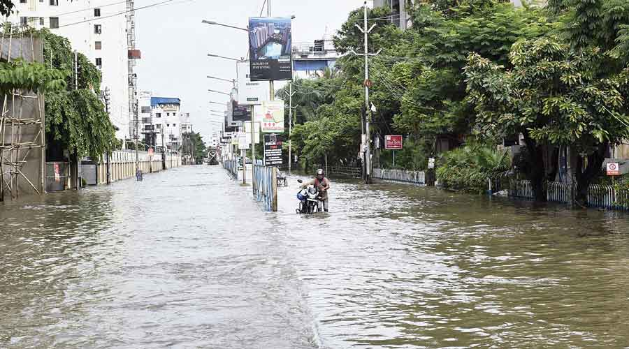 A waterlogged stretch in Mukundapur on Tuesday  afternoon.