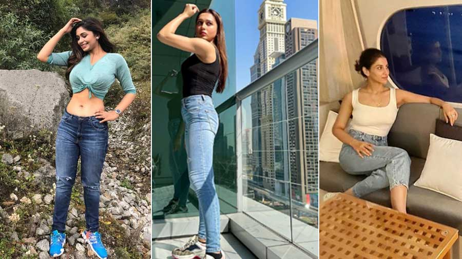 Ritabhari, Mimi and Rukmini sporting denim looks