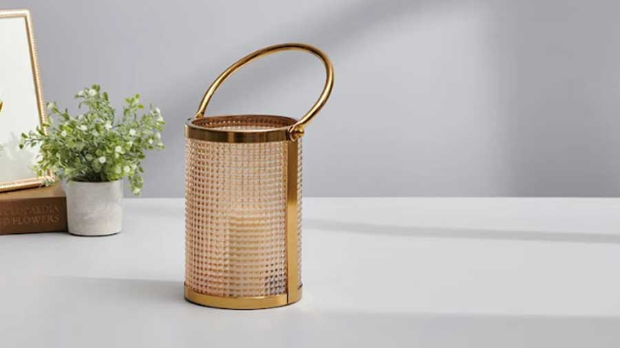 Golden Glass Cylindrical Lantern, Pure Home + Living