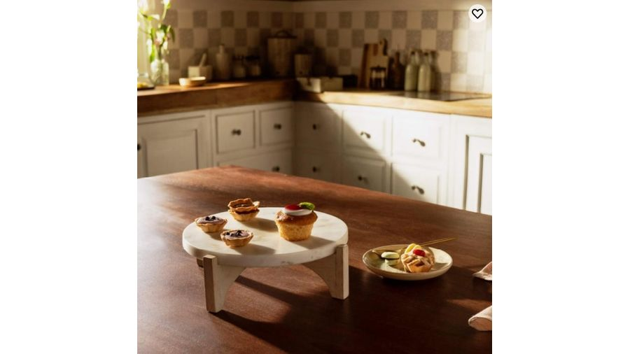 White Marble Cake Stand With Wooden Base at Ellementry