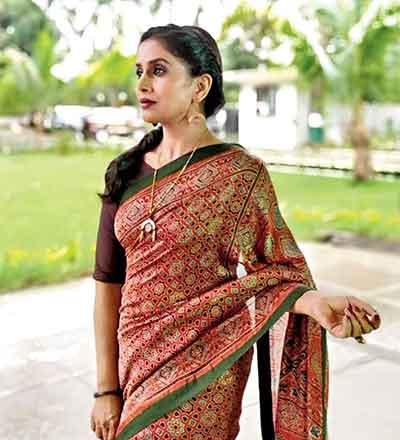 Sonali Kulkarni in an Ajrakh sari