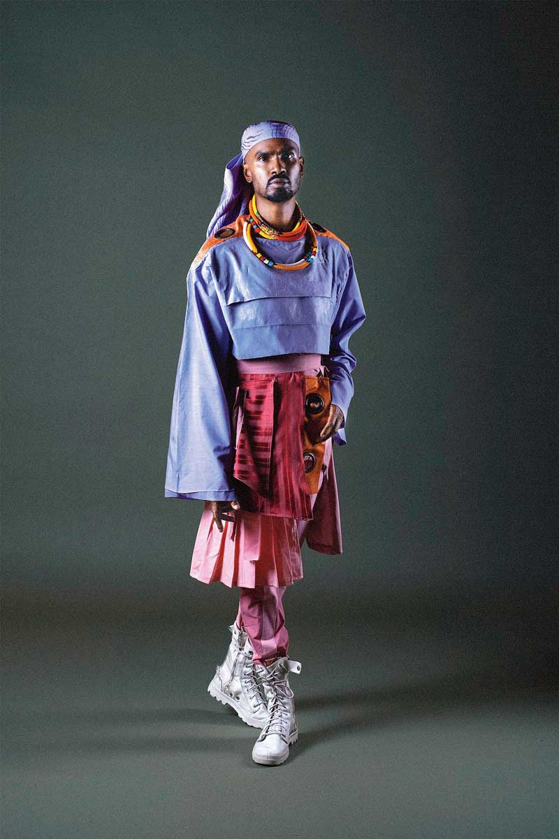 The artiste wearing designer Kyle Gervacy, styled by Zola Zee and make-up artist Thiso Milli.