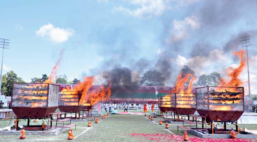 Assam govt burns rhino horn stockpile