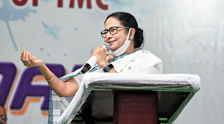 Mamata Banerjee addresses a rally at Ekbalpore in the Bhowanipore Assembly segment on Wednesday.