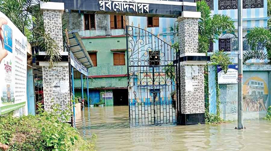 A marooned building at Bhagabanpur in East Midnapore on Wednesday.
