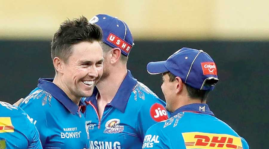 Trent Boult during the match against Chennai Super Kings on Sunday.