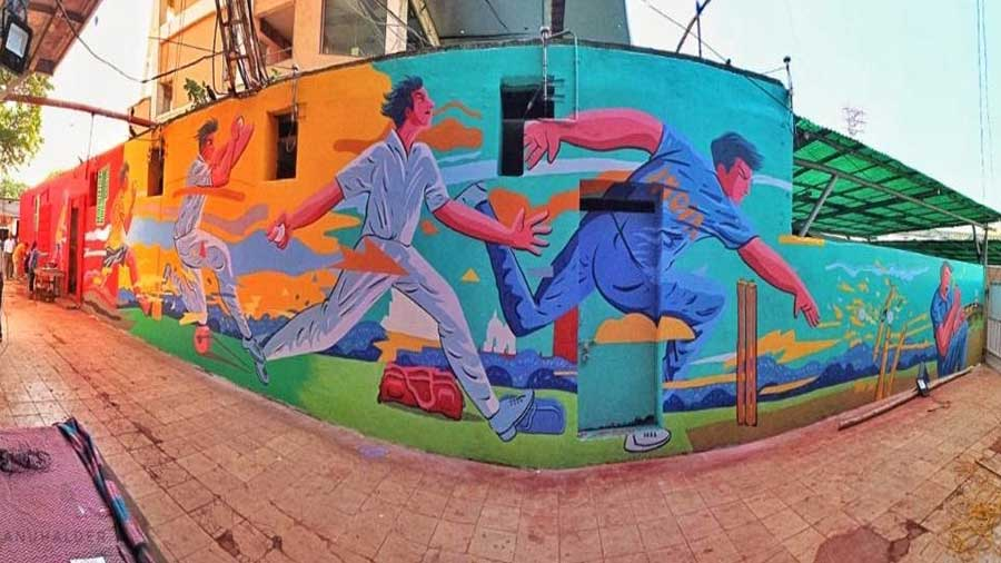 His second mural at the venue traced a cricketer's journey from the streets to the stadium.