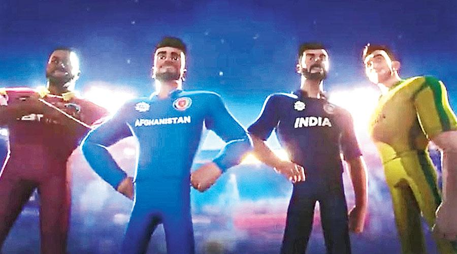 (From left) Animated Kieron Pollard, Rashid Khan, Virat Kohli and Glenn Maxwell in the T20 anthem.