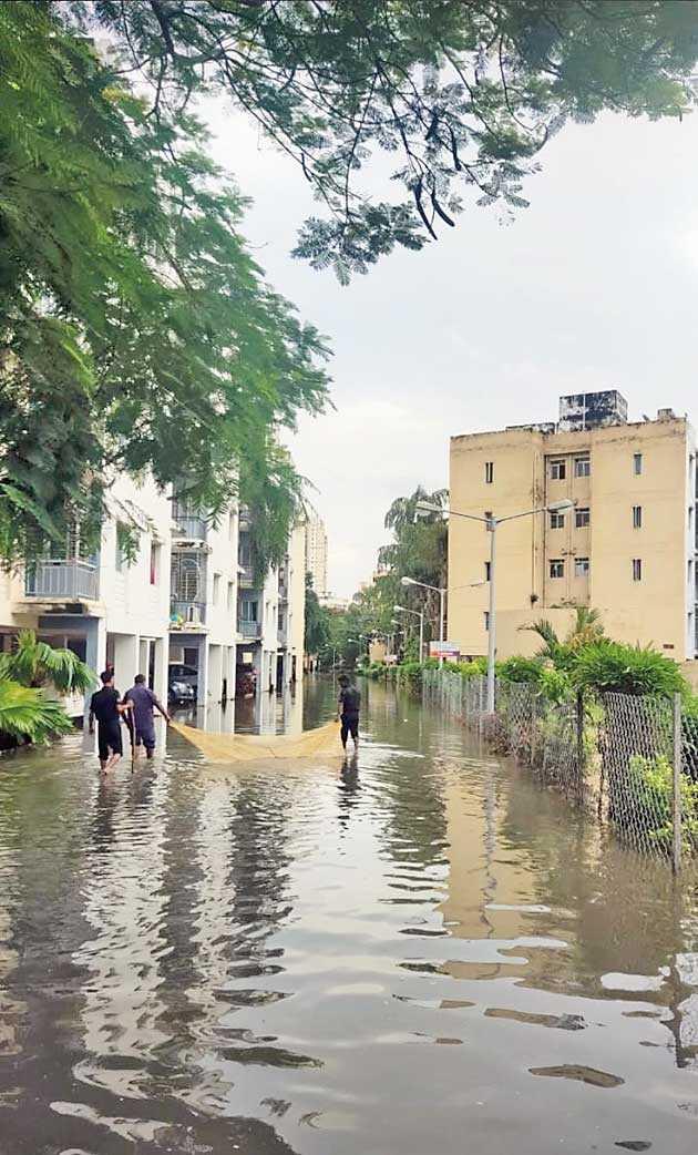 Net cast for fishing inside a flooded Sukhobristi on Wednesday