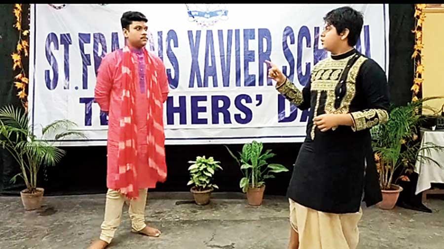 Senior school students perform a skit on Chanakya