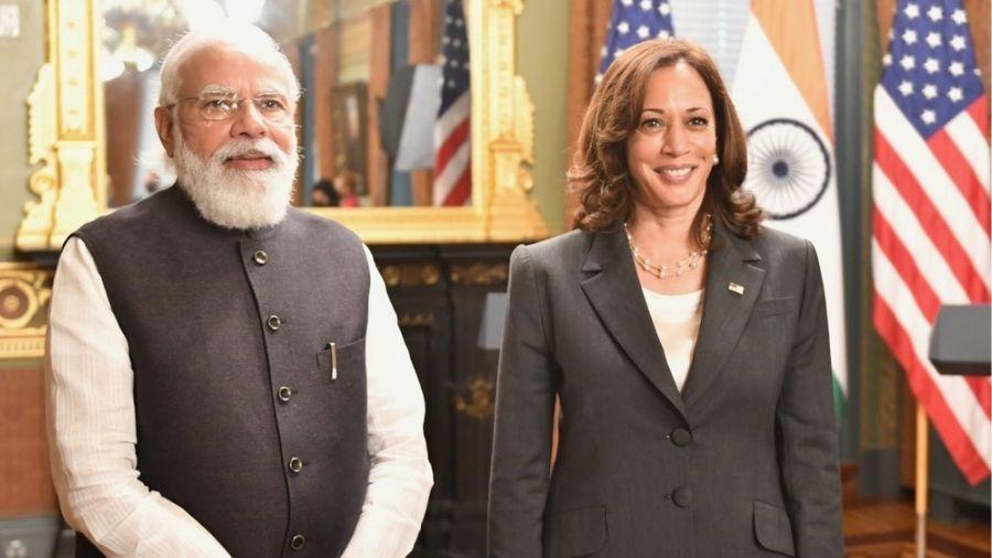 Narendra Modi with Kamala Harris