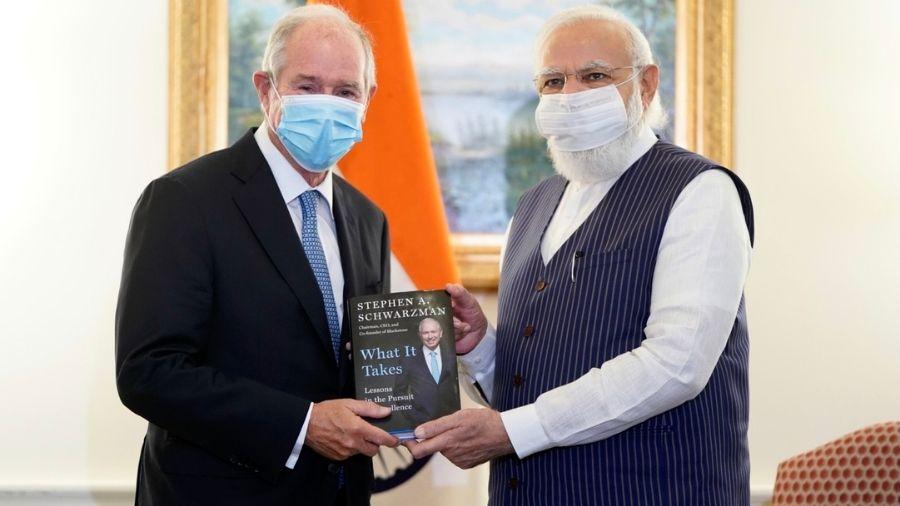 Narendra Modi with Stephen Schwarzman, the CEO of  Blackstone