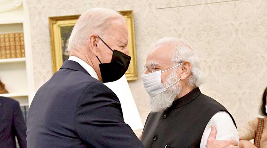 Joe Biden with Narendra Modi