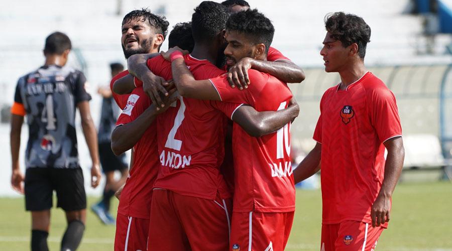 FC Goa players exult at the Kalyani Stadium on Friday.