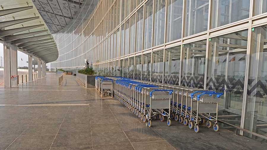 The empty departure area of the international airport