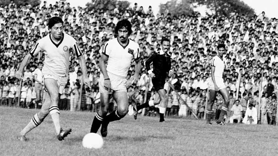 Chuni Goswami with the ball