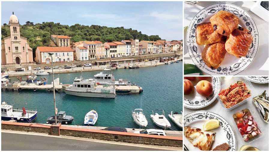 The view from our window in Port Vendres; (Right top) Fresh croissants for breakfast; (Right above) A cold seafood lunch at home in Port Vendres