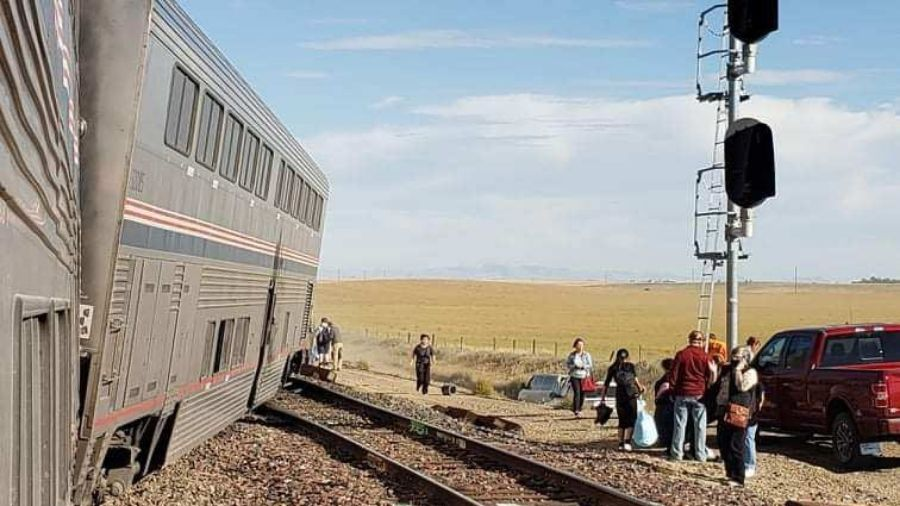 The train consisted of two locomotives and 10 cars, with seven of those cars derailing.