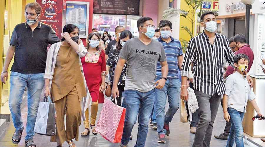 Puja shoppers at City Centre Salt Lake on Sunday.
