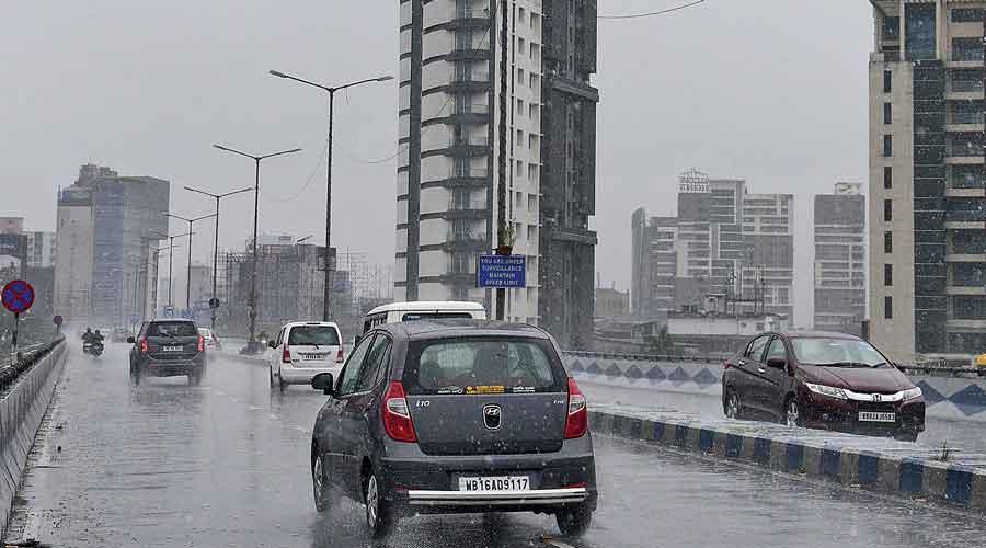 Rain on the Parama flyover in Kolkata on Sunday afternoon.