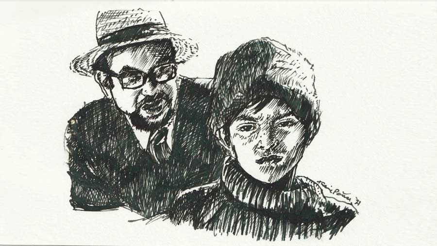 Karishma Siddique Roy's sketch of Mukul and the fake Dr Hajra from 'Sonar Kella'