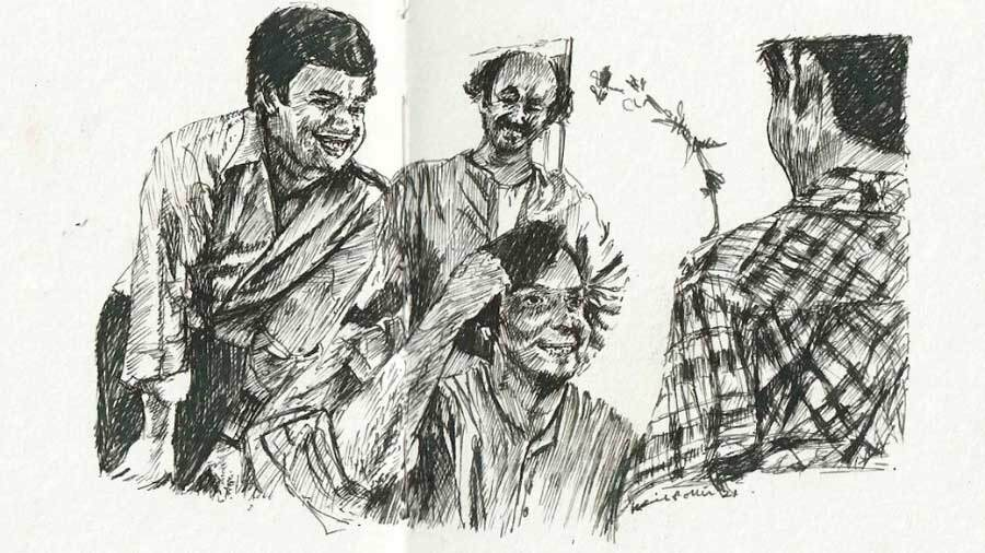 A scene from 'Joy Baba Felunath.' Karishma used fountain pen on homemade paper for the series