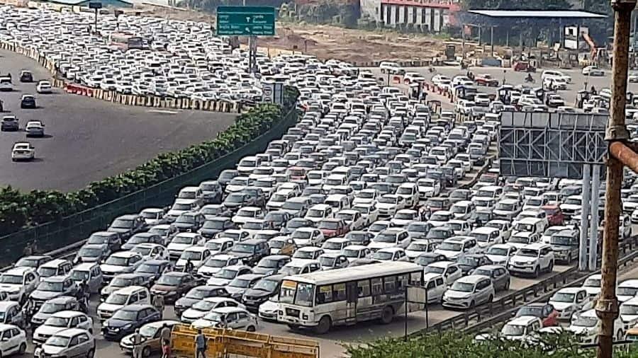 Traffic jam at Delhi-Gurugram border on Monday.