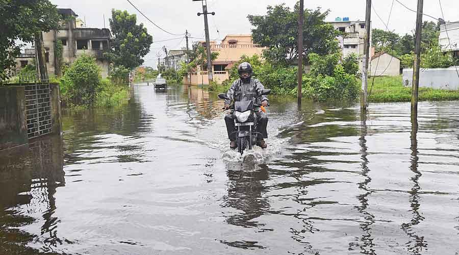 Pailan Park near Joka remains flooded from earlier rain spell