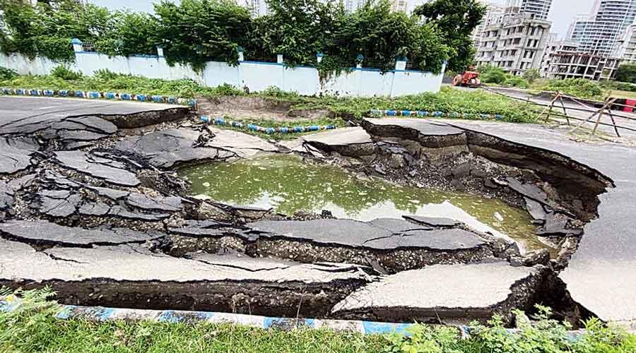 Rain and waterlogging damage New Town roads