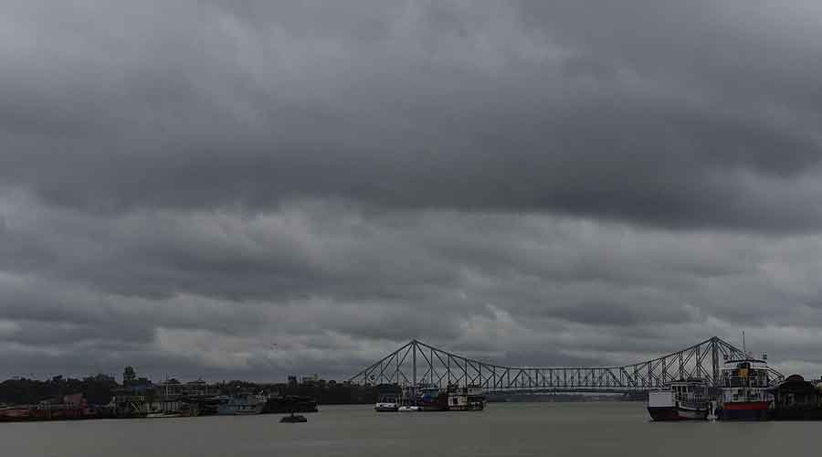 Dark clouds over the Hooghly on Tuesday afternoon.