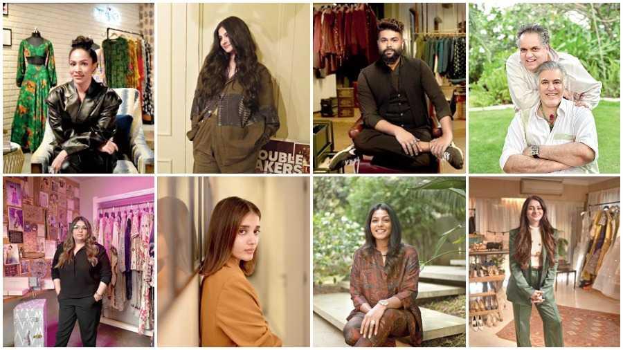 (Clockwise from top left) Masaba Gupta, Rhea Kapoor, Kunal Rawal, Abu Jani and Sandeep Khosla, Arpita Mehta, Jayanti Reddy, Tanya Ghavri