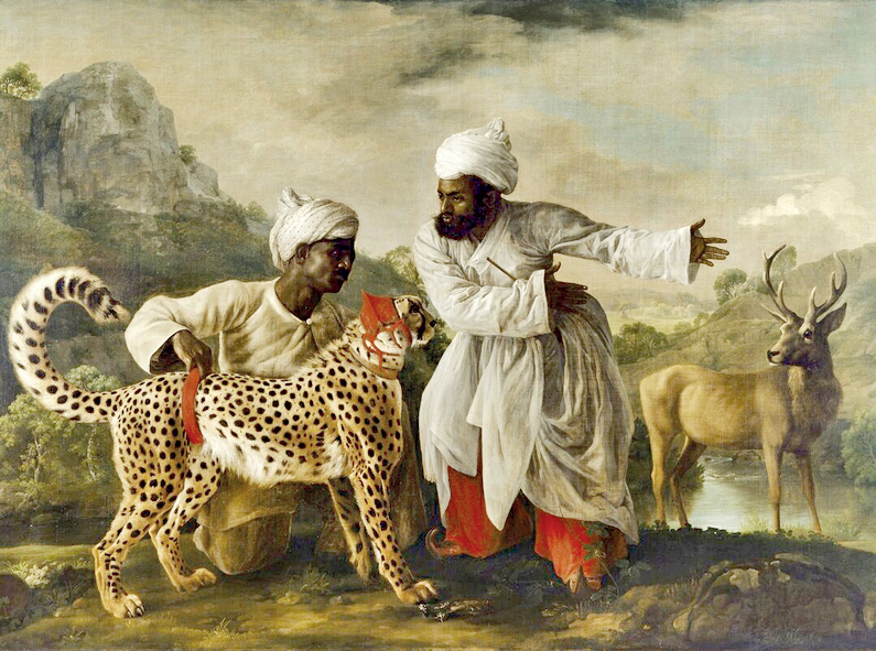 Cheetah with two Indian attendants and a stag; oil on canvas by George Stubbs