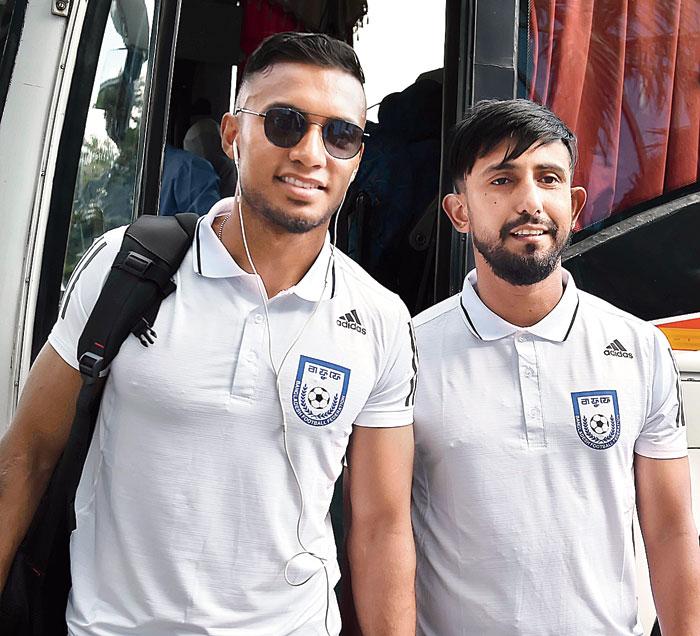 Bangladesh football team captain Jamal Bhuyan (left) and Mamunul Islam on Friday