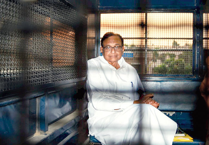 Chidambaram after being produced in the court in connection with the INX case in New Delhi on Tuesday.