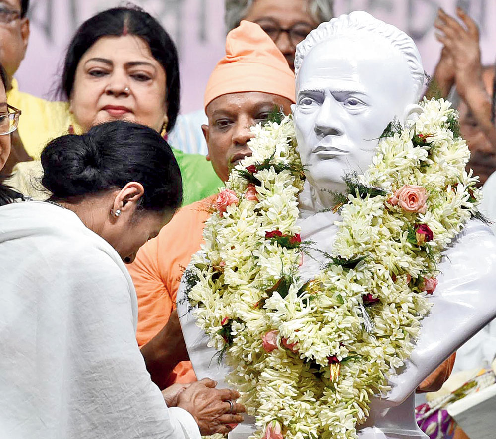 Chief minister Mamata Banerjee installs the Vidyasagar bust on Tuesday
