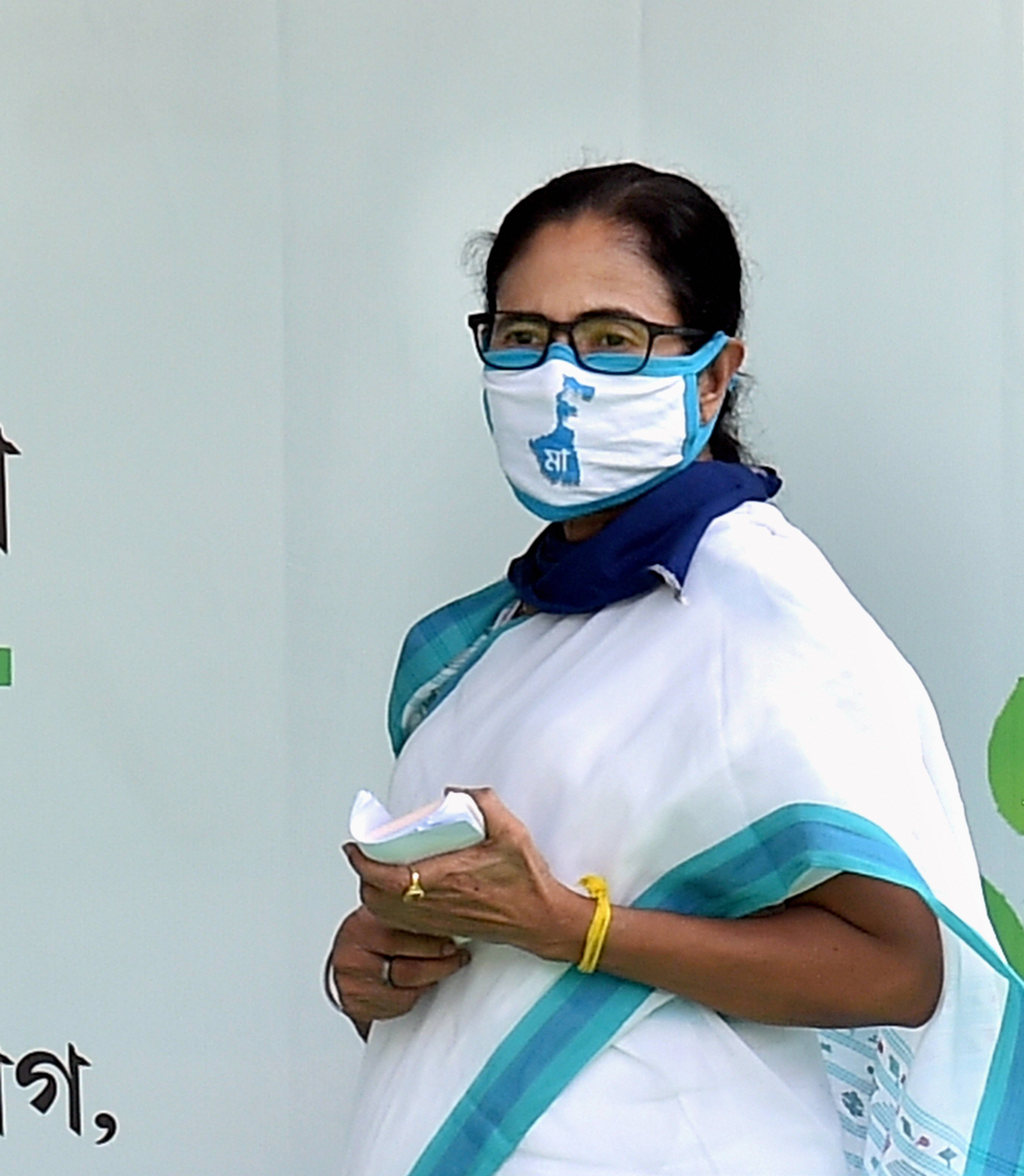 Mamata Banerjee during the inauguration of Re- Greening project on the occasion of World Environment day, during nationwide Covid-19 lockdown, in Calcutta, Friday, June 5, 2020.