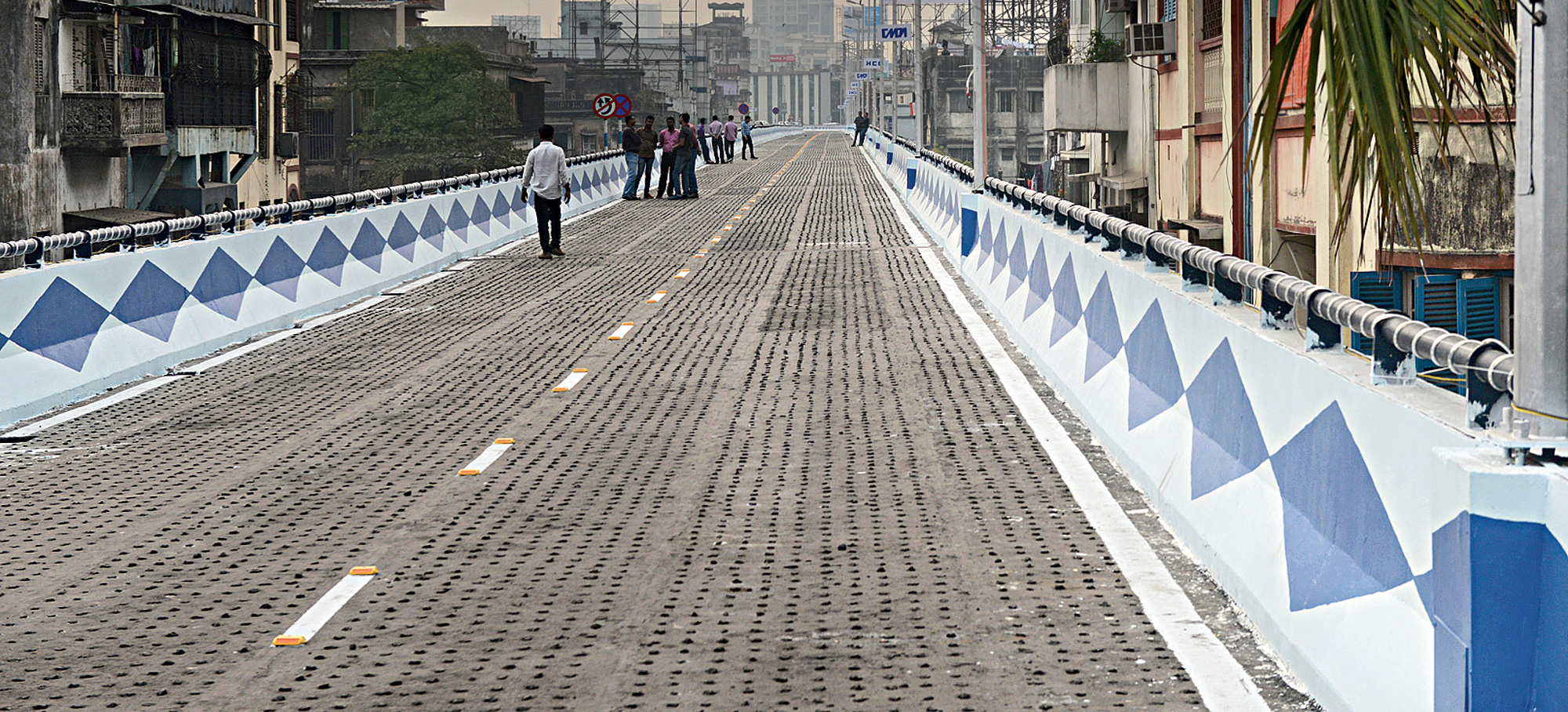 """The two """"shoulders"""" of the new ramp are yet to be fitted with solar studs."""