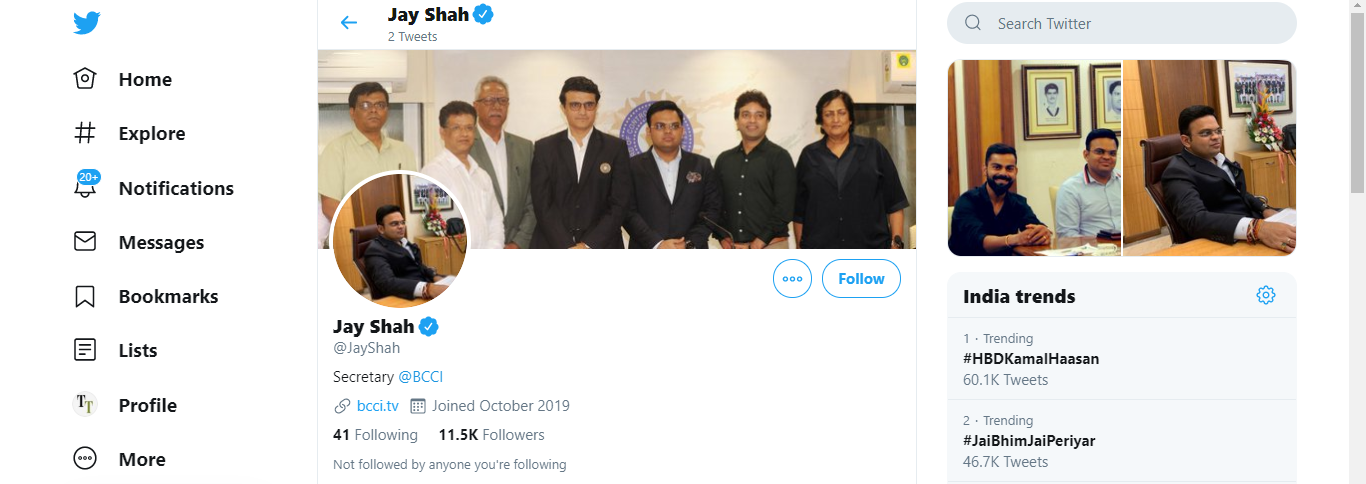 Jay Shah's Twitter handle now, that shows 11.5K followers