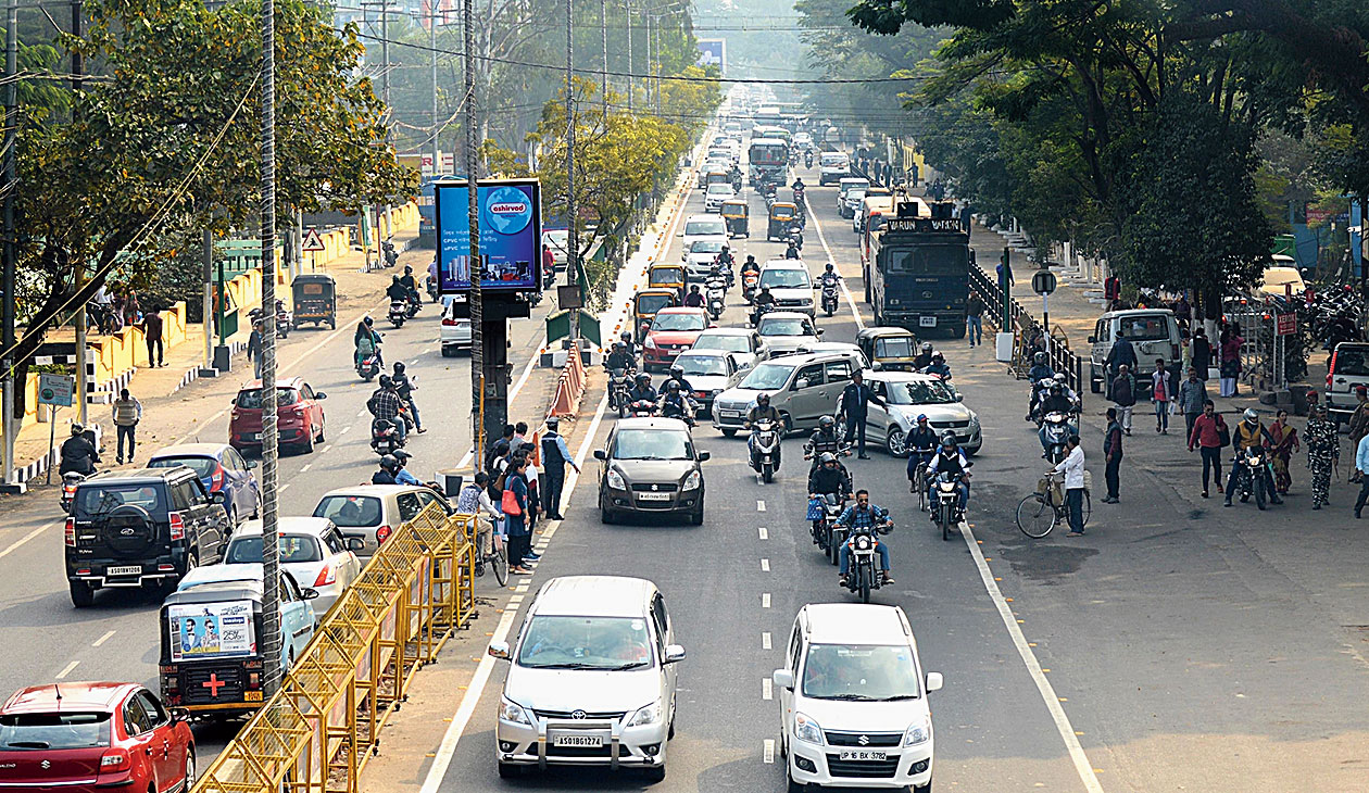 A busy road in Guwahati on Monday.
