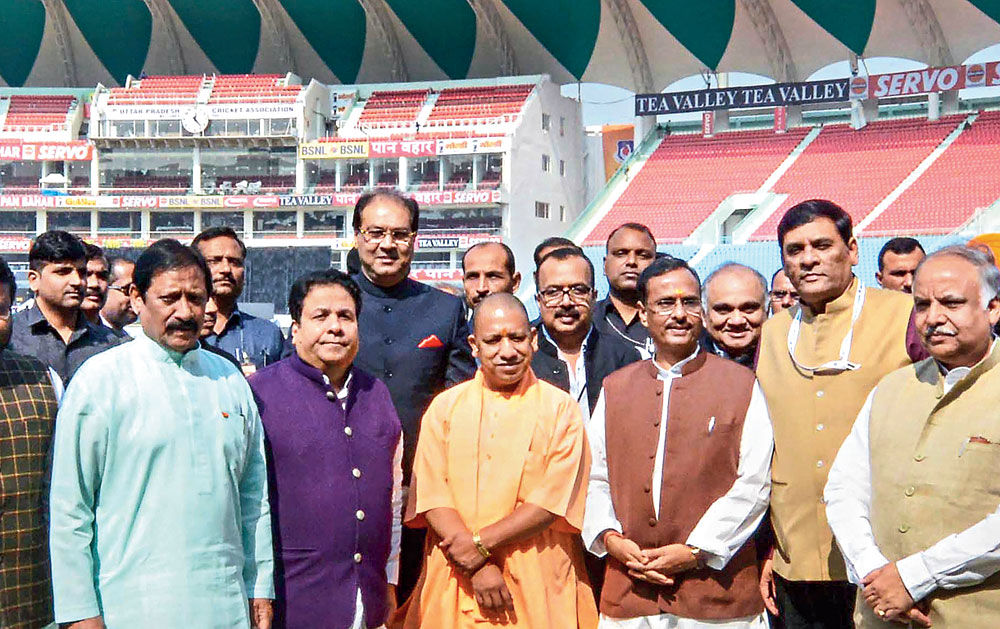 Yogi Adityanath (centre) at the newly inaugurated Atal Bihari Vajpayee Ekana International Cricket Stadium in Lucknow on Tuesday.