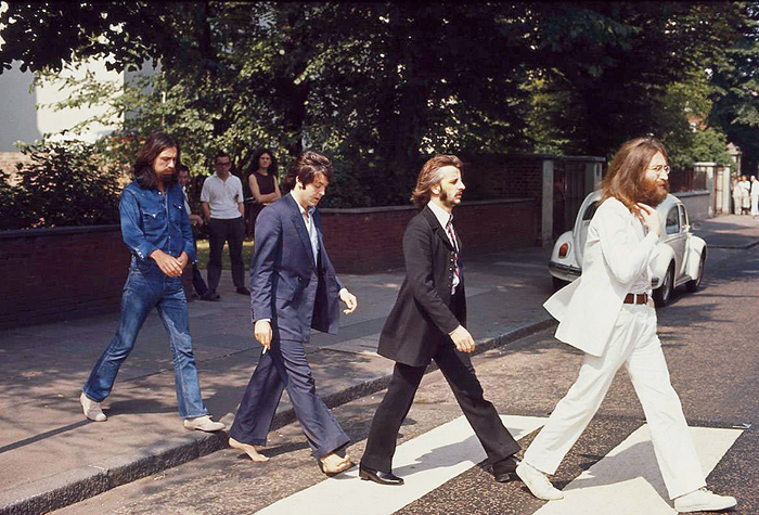 A moment from the photoshoot for Beatles' Abbey Road album
