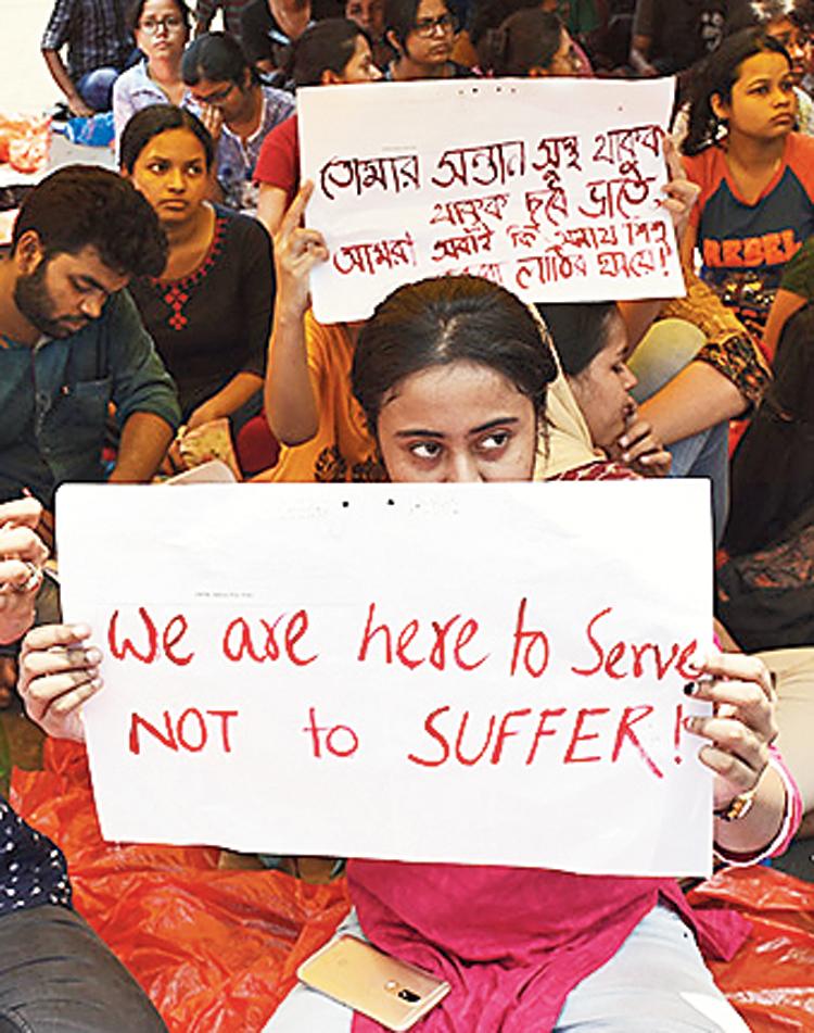 Junior doctors on strike at Nil Ratan Sircar Medical College and Hospital, Calcutta.